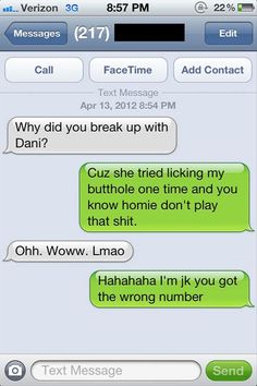 funny text, wrong number