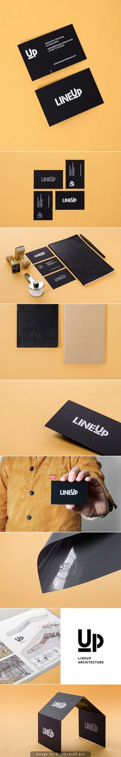 Line up branding stationary corporate identity business card minimal notebook letterhead bw architect graphic design