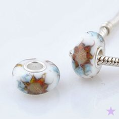 Sparkly SUNFLOWER Sun Flower MURANO Lampwork Glass by magickcharms, $8.45