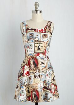 Cats Rule Everything Around Me Dress - Multi, Print with Animals, Print, Casual, Cats, Critters, A-line, Sleeveless, Summer, Woven, Better, Short