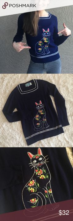 """Vintage Embroidered Cat Sweater Navy Square Neck Cat Sweater with Floral Embroidery. Brand is a vintage LeRoy. Length from shoulder to hem: 24"""". Pit to Pit (flat): 15"""". ✨OFFERS WELCOME✨ Vintage Sweaters Crew & Scoop Necks"""