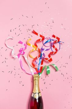 'Pink Birthday Celebration Champagne Artwork' Photographic Print by newburyboutique Happy Birthday Signs, Birthday Wishes, Birthday Congratulations, Gifts For Wedding Party, Party Gifts, Brunch Decor, Brunch Party, Party Streamers, Champagne Party