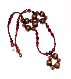 Chunky red necklace unusual style