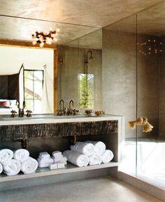 shelf below for towels, etc.  Like wooden facia on sink