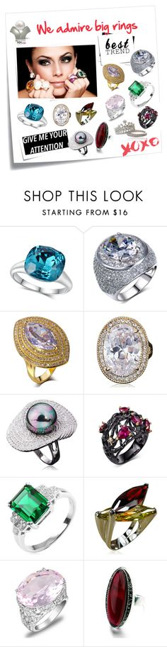 """We admire big rings..."" by lamiacara ❤ liked on Polyvore featuring Post-It, jewelry, rings, cocktailrings, statementrings and solitairrings"