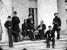 Brig. Gen. Gustavus A. DeRussey (third from left) and staff on portico of Arlington House