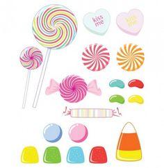 Caramelos corazón dulces y paletas | Descargar Vectores gratis