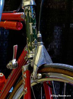Classic handmade Hetchins Bicycle with engraved Campagnolo Aero brakes.