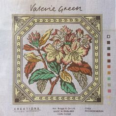 Valerie Green needlepoint canvas, Rhododendron printed tapestry canvas by KindredClassics on Etsy Needlepoint Designs, Needlepoint Canvases, Large Cushion Covers, Different Stitches, Vintage Canvas, My Canvas, Goblin, Poppies, Cross Stitch