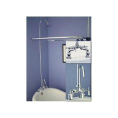 """Rim Mount Gooseneck Clawfoot Tub Shower Conversion Kit with S-Type Couplers - 7"""" Centers - Clawfoot Tub Shower Kits - Shower - Bathroom"""