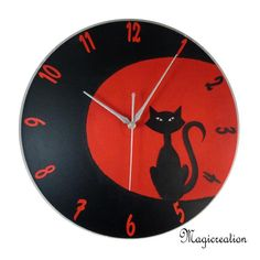 HORLOGE CHAT AU CLAIR DE LUNE - Boutique www.magicreation.fr