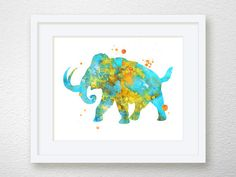 Mammoth Art Mammoth Print Watercolor Mammoth by MiaoMiaoDesign