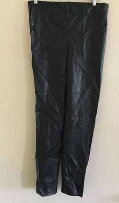 Frank Lyman NEW Women's Sz 8 Black Faux Leather Knit Pants Stretch Skinny Leg  | eBay