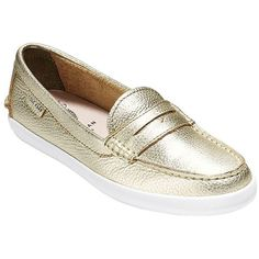 Cole Haan Women's Pinch Weekender Metallic Leather Loafers (325 PEN) ❤ liked on Polyvore featuring shoes, loafers, gold, cushioned shoes, loafers moccasins, cole haan loafers, metallic shoes and leather shoes