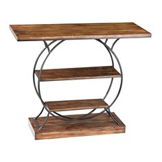 This stylish console table features a unique design and solid construction. Built with natural wood and iron framing, the table has two storage shelves below with a solid wood base.