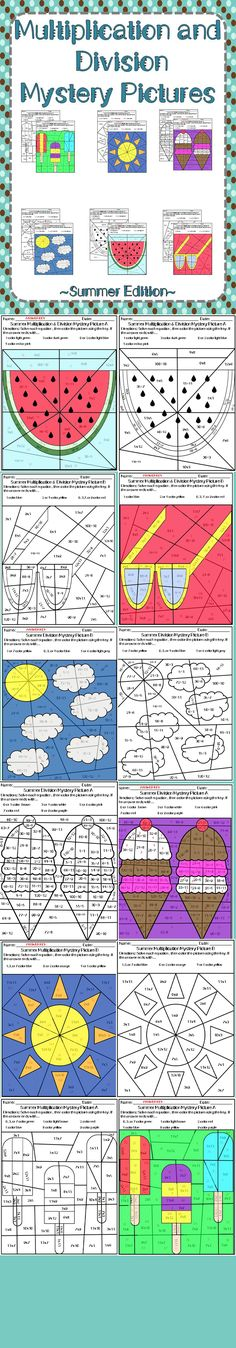 Just in time for summer, these mystery pictures are great for math practice. Have students review their basic multiplication and division fast facts with these six different worksheets. Great for individual practice or use in centers, these no prep pages are easy to incorporate anywhere in the classroom  This product contains: +2 multiplication worksheets with answer sheets +2 division worksheets with answer sheets +2 multiplication and division worksheets with answer sheets