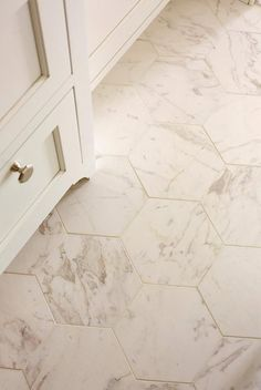 Love The Hexagon Shaped Tile. Floor Pattern And Tile Size Of Carrara Marble.  Tight Grout Lines Are A Must Part 72