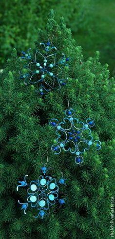 набор елочных игрушек Снежинки из меди (подарок на Новый год 2015). Snowflakes from Elena Schelchkova 2014