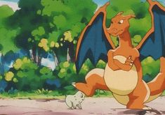 Chikorita and Charizard #gif