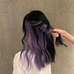 Under Hair Dye, Under Hair Color, Hidden Hair Color, Two Color Hair, Hair Color Streaks, Hair Color For Black Hair, Blue Hair Highlights, Dyed Hair Purple, Hair Color Purple