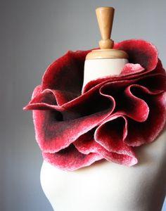 Felted  scarf   wool  Chocolate / Brown  Red Ecru 'White ruffled  luxury felt epictt teamb HMET wine maroon garnet orchid