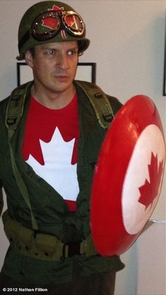 (via candlejack) Nathan Fillions Halloween costume: Captain Canada.