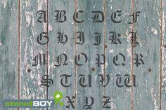 Buchstabenschablonen altdeutsche Schrift AD mit Sprühnebelschutz | stencilBOY.de - die Dresdner Schablonenmanufaktur
