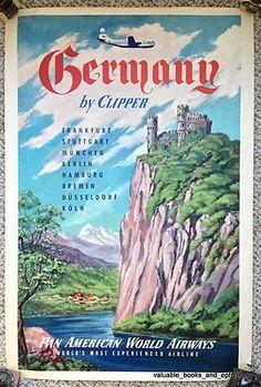 C1953 Pan Am Air Germany Deutschland Original Vintage Travel Poster Scarce | eBay