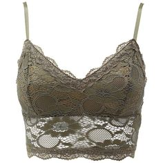 Charlotte Russe Long Line Lace Bralette ($15) ❤ liked on Polyvore featuring intimates, bras, tops, crop top, shirts, underwear, olive, longline bra, no wire bra and long line bra
