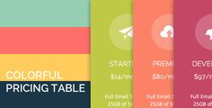 Colorful Pricing Table by ColorfulPricing is a flat & colorful pricing table. This suitable for all modern website. You can get PSD version here CreditsEntypo icon font (via fontello service) Open Sans Raleway Animations for Thumbnail Grids Table Template, Pricing Table, Ecommerce Logo, Modern Website, Charts And Graphs, Logo Images, Icon Font, Website Template, All Modern