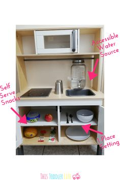 Find out exactly how to turn your child's play kitchen into a working Montessori kitchen! Including example pics of a Montessori IKEA kitchen. You are in the right place about Montessori kinderzimmer Ikea Play Kitchen, Kitchen Hacks, Kitchen For Kids, Best Play Kitchen, Warm Home Decor, Hippie Home Decor, Kitchen Furniture, Kitchen Decor, Kitchen Design
