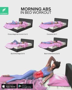 Ab Workout In Bed, Abs Workout Routines, Workout Videos, Gym Workouts, Hotel Workout, Workout Schedule, Morning Ab Workouts, Fitness Workout For Women, Fitness App