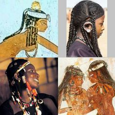 Adolescent hairstyles then, and now: Notice the yellow ochre on the girls in the upper register, and the red ochre on those in the lower one. A girl from the tomb of Djeserkareseneb, 1425-1417 BC; Kel Tamacheq (Tuareg) teen girl; Burkinabe Fulani young woman at a festival; Musician girls during ancient Egyptian festivities, painting from the tomb of the 18th dynasty astronomer priest Nakht. Collage, Amina Bari.