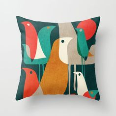 Partridge Throw Pillow Cover -- Now THIS I could make, if only I could find the fabric for sale! LOVE!!