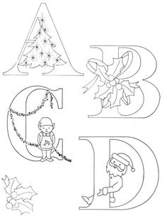 Christmas Alphabet Series: A - P. Then go to comments for rest of alphabet. Cross Stitch Embroidery, Hand Embroidery, Machine Embroidery, Embroidery Designs, Christmas Embroidery Patterns, Vintage Embroidery, Christmas Projects, Holiday Crafts, Christmas Alphabet