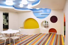 Circular cut-outs for white interior and striped flooring.