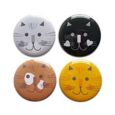 Set of Four Badges // Cat Collection by @Sandra Pendle Pendle Pendle Pendle Pendle Igbodo on Etsy