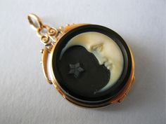 Antique Victorian10K gold Cameo Man in the Moon Pendant  Oxford Jewel