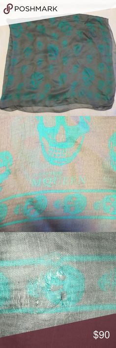 ALEXANDER MCQUEEN SILK SKULL SCARF Made in Italy, 100% silk grey and turquoise silk scarf with skulls and logo in corner. Few pulls shown but not noticeable when worn Alexander McQueen Accessories Scarves & Wraps