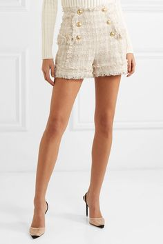 Tweed Outfit, Tweed Shorts, Beige Shorts, Alexander Wang, Classy Outfits, Cute Outfits, Balmain Sweater, Givenchy, Balmain Clothing