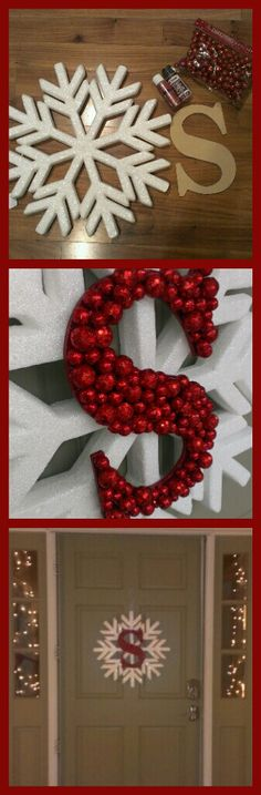 Christmas wreath- large snowflake, cardboard letter, paint  (same color as the balls), glittery balls.