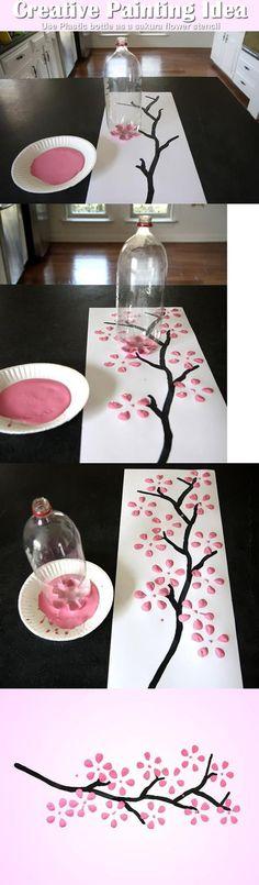 Foto: eenvoudig en geniaal schilderen bloemen idee. Geplaatst door craft-craft op Welke.nl