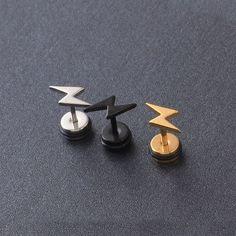 Lightning Stainless Steel Z letters Men Women Ear Pierced stud earrings Double Earrings, Multiple Earrings, Ear Jewelry, Body Jewelry, Guys Ear Piercings, Cheap Earrings, Men's Earrings, Stud Earrings For Men, Fantasy Jewelry