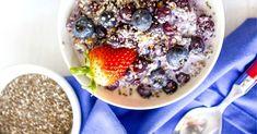 Vezelrijk hennep ontbijt met blauwe bessen » Makkelijk Afvallen Acai Bowl, Oatmeal, Low Carb, Lunch, Breakfast, Health, Food, Fruit, Acai Berry Bowl