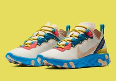 The Nike React Element 55 Tacks On Blue Soles Yeezy, Reebok, Nike Shoes, Shoes Sneakers, Baskets, Web Design, Converse, Fresh Shoes, Everyday Shoes