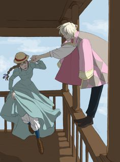 Howl and Sophie from Howl's Moving Castle. Love these characters and the animation in this movie. Hayao Miyazaki, Howl's Moving Castle, Studio Ghibli Art, Studio Ghibli Movies, Totoro, Howl And Sophie, Kimi No Na Wa, Castle In The Sky, Character Design