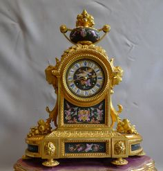 Antique mantel clock in ormolu and porcelain clock under dome.Achille Brocot - Gavin Douglas Antiques