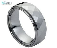 8MM Tungsten Carbide Men's Ring Wedding Engagement Band Flat Dome Stepped Edges & Polished Shiny Comfort Fit