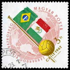 Brazil 2 Mexico 0 in 1962 in Vina del Mar. A stamp featuring Brazil v Mexico in Group 3 at the World Cup Finals.