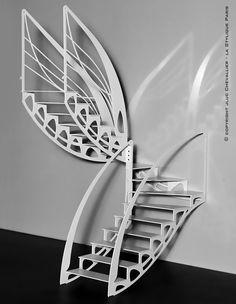 Escalier design contemporain Art Nouveau papillon créé par Jean Luc Chevallier pour La Stylique